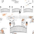 Kätzchenbrücke In London Nahtloses Vektormuster