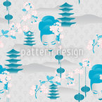 Cherry Blossom Geisha Cyan Seamless Vector Pattern Design