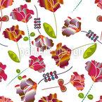 Blumen Aus Peru Weiß Vektor Muster