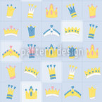 Royal Crowns Blue Seamless Vector Pattern Design