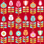 Seventies Flowers Seamless Vector Pattern Design