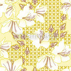 Oriental Blossoms Vanilla Repeat Pattern