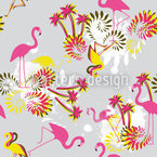 Miami Flamingo Rosa Estampado Vectorial Sin Costura
