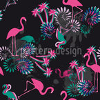 Miami Nights Flamingo Seamless Vector Pattern Design
