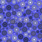Blossoms In Night Blue Seamless Vector Pattern Design