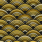Golden Wave Seamless Vector Pattern Design