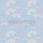 Iglu Polar Blues Estampado Vectorial Sin Costura