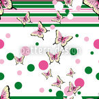 Butterflies Glance At Stripes Seamless Vector Pattern Design
