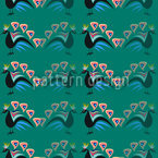 Peacocks Showing Off Seamless Vector Pattern Design