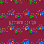Peacocks Dance Seamless Vector Pattern Design