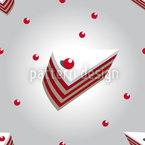 Cherry Cream Cake Seamless Vector Pattern Design