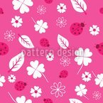 Ladybugs And Clover Seamless Vector Pattern