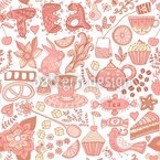 Tea Party In Wonderland Seamless Pattern