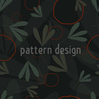 Circles And Leaves Vector Pattern