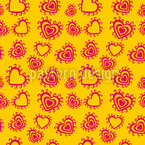 Summer Hearts Seamless Vector Pattern Design