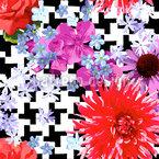Hahnentritt Floral Nahtloses Vektormuster