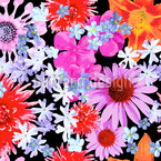Flower Of Summer Seamless Vector Pattern Design