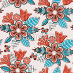 Late Summer Flowers Seamless Vector Pattern Design
