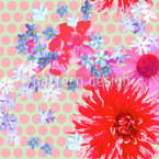 Scattered Flower On Dots Seamless Vector Pattern Design