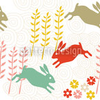 Funny Bunny Hip Hop Seamless Vector Pattern Design