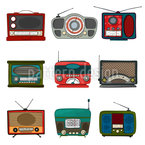 Retro Radio Seamless Vector Pattern Design