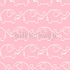 Baby Elephant Parade Vector Pattern