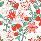 Süsses Erdbeer Paradies Nahtloses Vektormuster