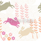 Funny Bunny Hop Seamless Vector Pattern Design