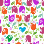 Happy Tulip Mix Seamless Vector Pattern Design