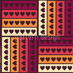 Hearts On Stripes Seamless Vector Pattern Design