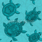 Polynesian Sea Turtles Seamless Vector Pattern Design