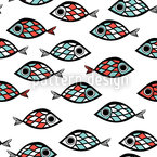 Swarm Of Fish Seamless Vector Pattern Design