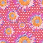 Sunflowers On Polka Dot Seamless Vector Pattern Design