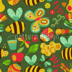 Busy Honey Bees In The Woods Seamless Vector Pattern Design