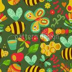 Fleissige Honig Bienchen Im Wald Nahtloses Vektormuster