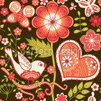 Liebesgeständnisse Im Folklore Garten Vektor Muster