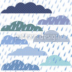 Rain Cloud Patchwork Seamless Vector Pattern Design