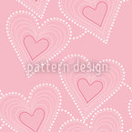Sewing Hearts Seamless Vector Pattern Design