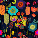 Magic Night Garden Seamless Vector Pattern Design