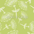 Fan Flowers On Grass Seamless Vector Pattern Design
