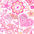 Garden Of Sweet Romance Seamless Vector Pattern Design