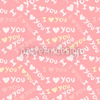 I Love YOU Seamless Vector Pattern Design