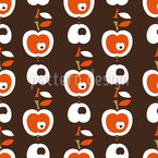 Apples In Chocolate Seamless Vector Pattern
