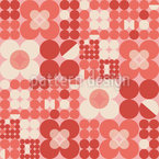 Round Retro Flowers Seamless Vector Pattern Design
