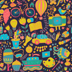 Funny Leisure Time At Night Seamless Vector Pattern Design