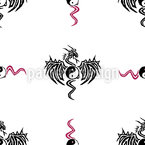 Yin Yang Dragon Seamless Vector Pattern Design