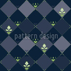Checkerboard Flowers Seamless Vector Pattern Design