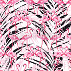 Flamingos In Palm Beach Seamless Vector Pattern Design
