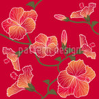Red Hibiscus Seamless Vector Pattern Design