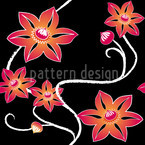 Black Clematis Vector Ornament